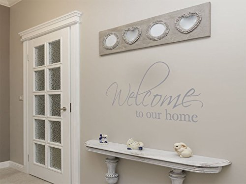 Autocollant mural « Welcome To our Home » - Art mural moderne, Silver, XX-Large 130cm (w) x 57cm (h)