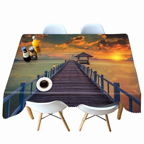AMON LL Stofdicht Tafelkleed Rechthoek Tafelkleden, Avond Sea Bridge Landschap Tafelkleed Eetsalontafel Cover voor Decor