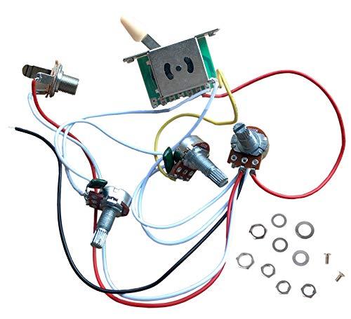 Vorverdrahteter Kabelbaum ST Gitarren-Elektronik-Kit, 2T1V 500K Potentiometer-Bedienknöpfe 5-Wege-Schalter mit Buchse für E-Gitarrenersatz im Strat-Stil, Cremekappe