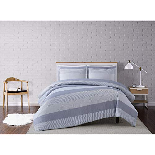 Full/Queen 3pc Multi Stripe Duvet Cover Set Gray - Truly Soft