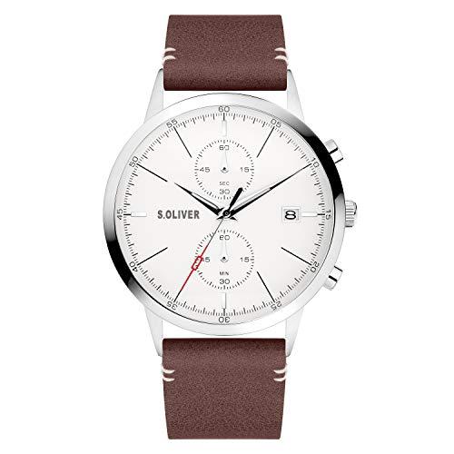 s.Oliver Herren Analog Analogquarz Uhr mit Kunstleder Armband SO-4123-LC