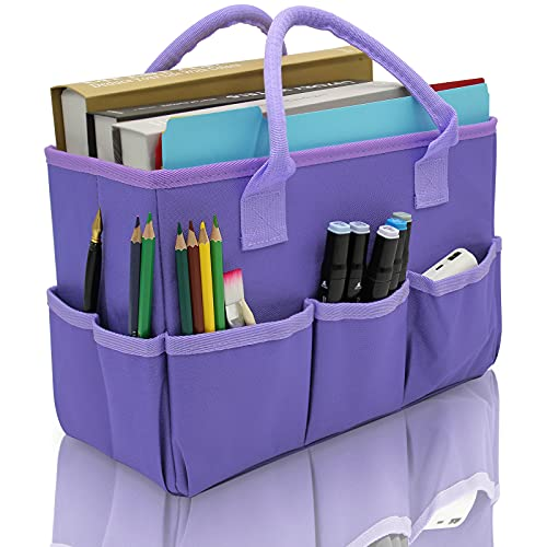 Organizer Storage Tote Bag for Art and Craft Supplies with Pockets, Purple...
