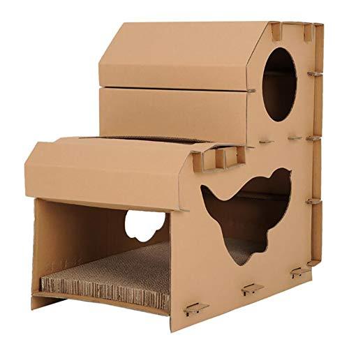 Eshow 猫タワー 猫爪とぎ 二段 猫ハウス 段ボールハウス 組み立て簡単 燃えるゴミで処分できる