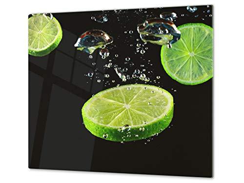 Couvre-plaques de cuisson en VERRE trempé – Protège-plan de travail et planche à pâtisserie – UNE PIÈCE (60x52 cm) ou DEUX PIÈCES (30x52 cm chacune); D07 Fruits et Légumes: Citron Vert 7