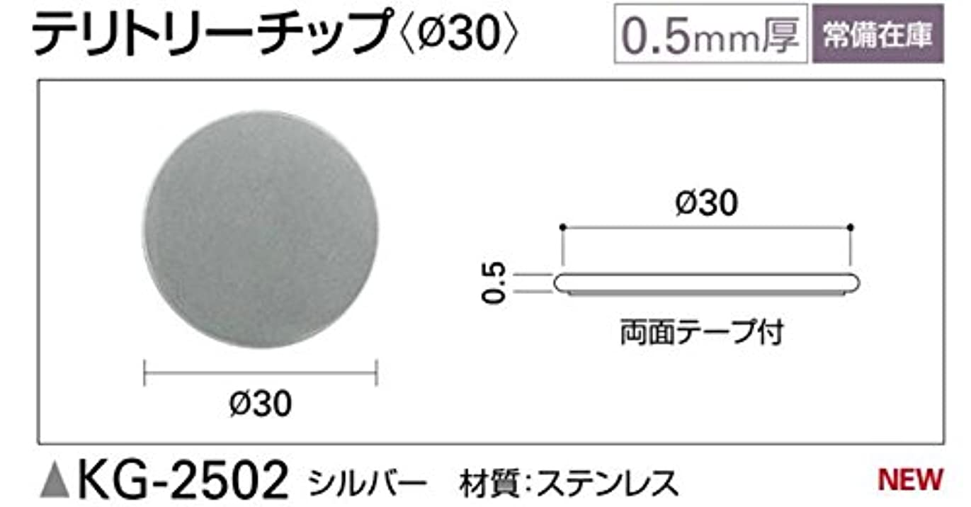 彼優しい絞るサンゲツ テリトリーチップ(φ30)0.5mm厚 1袋20個入 シルバー KG-2502