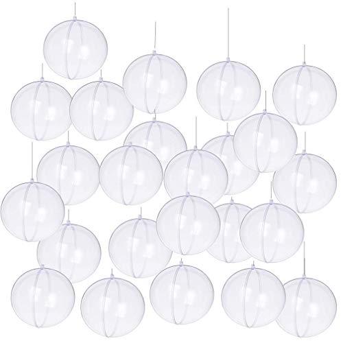 Yeelan Esfera de la chuchería del Ornamento de la Bola Transparente rellenable de acrílico Transparente de para la decoración casera de la Navidad del Banquete de Boda (40m m, Sistema de 19Pcs)