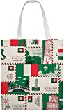 MODORSAN Seamless-pattern-on-theme-italy-vector Italie Shoulder Bag Canvas Tote Bag, Reutilizable Grocery Shopping Cloth Bags, Double-Side Printing Tote Handbags
