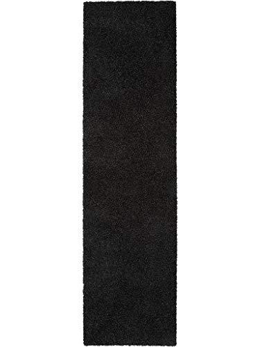 Benuta Hochflorteppich Swirls Shaggy Langflor Anthrazit 80x300 cm Kunstfaser