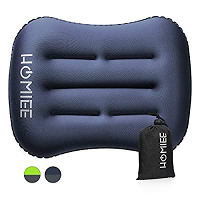 HOMIEE Ultralight Inflatable Travel Camping Pillow Ergonomic, Compressible, Compact Blow Up Pillow for Neck & Lumbar Support While Camping, Backpacking Hiking, Beach Sea Outdoor Sleeping