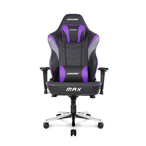 AKRacing Masters Series Max Gaming Chair with Wide Flat Seat, 400 Lbs Weight Limit, Rocker and Seat Height Adjustment Mechanisms - Indigo