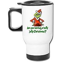 Taza de viaje con asa, taza de coche The Grinch Tazas de café/té/coche Tazas Vaso Personal de oficina Coche de viaje aislado Tapa abatible a prueba de derrames Blanco Asa fácil de sostener