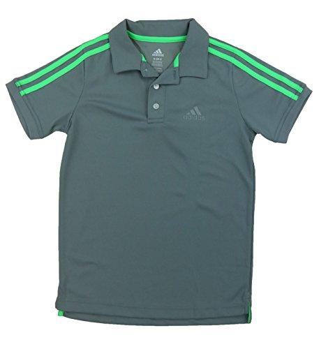 Adidas Boys Performance Polo's Short Sleeved Shirts (Large (14/16), Navy/Solar Lime Green)