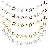 Zasjon guirnalda estrellas papel, 5 piezas estrellas papel decoracion estrellas papel para colgar banderines estrellas estrella colgante decoracion para boda cumpleaños navidad y fiesta