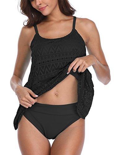 Flyily Tankini-Set für Damen, 2-teilig, Bademode, Strandbekleidung, formt den Bauchbereich, in 6Farben, in großen Plus-Größen Gr. Etikett X-Large, Schwarz