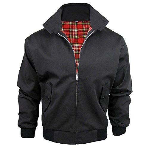 Harrington-Jacke mit kariertem Futter, gefertigt in Großbritannien, Herren, mit Reißverschluss, klassische Bomberjacke Gr. Large, schwarz