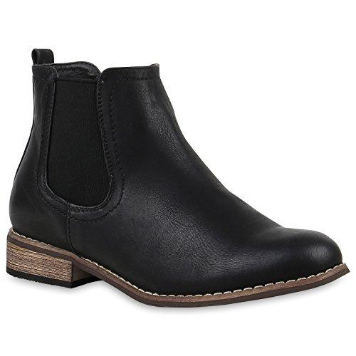 stiefelparadies Damen Stiefeletten Chelsea Boots Gefütterte Ankle Booties Leder-Optik Schuhe Klassisch 121387 Schwarz Braun Agueda 41 Flandell