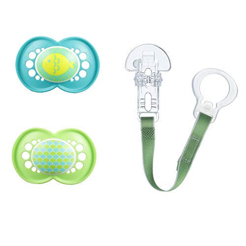 MAM Pacifier and Pacifier Clip Value Pack (2 Pacifiers & 1 Clip), Pacifiers 6 Plus Months, Unisex Baby Pacifier with Trends Design, Baby Pacifier Clips, Turquoise & Green