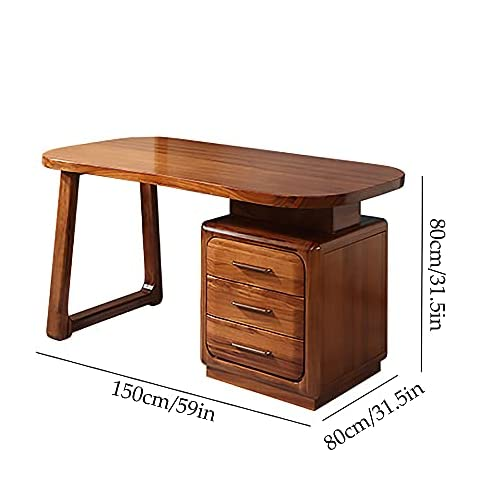 NJMK Ebony Office Desk All Solid Wood High-End Computer Desk Large Storage Drawer Reasonable Storage of Scattered Items…