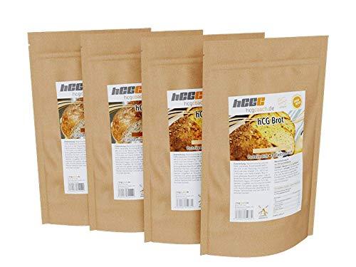 4-Pack: hCG-Low Carb Brotbackmischung erstes Brot für hCG strenge Phase geeignet (White + Dark)