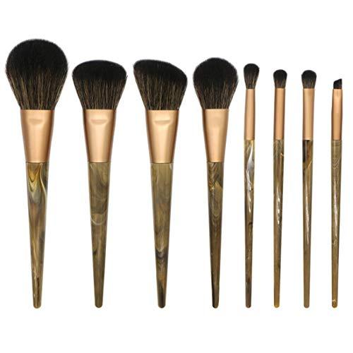 JOMKE Pinceau de maquillage professionnel Set 8pcs extrêmement maquillage doux Brosse de maquillage en marbre Outils Pinceau Set (Couleur : Noir)