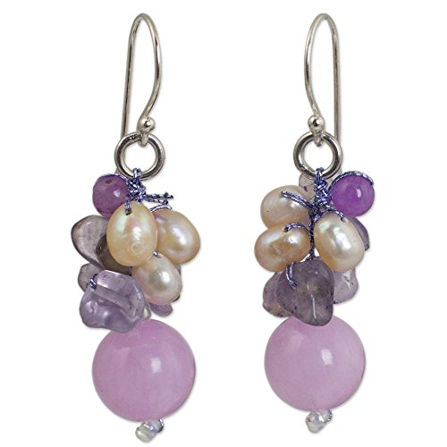 NOVICA Multi-Gem Cream Cultured Freshwater Pearl Silver Plated Beaded Earrings, Sweet Lavender'