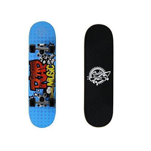 Skateboard Junior Completo di Ruote Rap Music Skate Skatemax Azzurro Bambini New