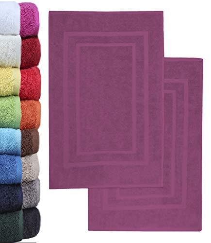 NatureMark 2er Pack Badvorleger Badematte | Premium Qualität | 100% Baumwolle | 50 x 80 cm | Duschvorleger Duschmatte Doppelpack | Farbe: Lila