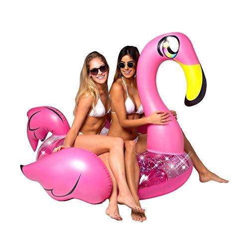 Poolcandy Giant Animal Pool Float, Pink Glitter Flamingo