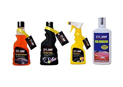 TYRE Dresser 250ml.+CAR WASH Shampoo 250ml.+CAR Wax Polish 250ml.+CAR RUBBING 200gm.(60gm Extra).