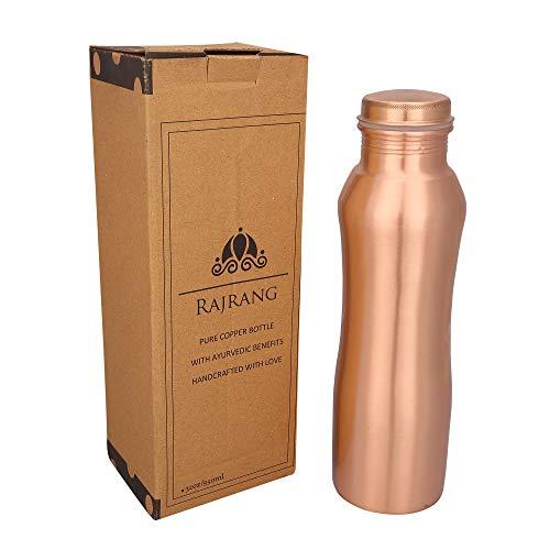 RAJRANG BRINGING RAJASTHAN TO YOU Kupferflasche für Wasser Yoga Flaschen 950 ml Sanduhr Auslaufsichere Kappe für Kinder Sport Männer Frauen Gym Wasserflasche