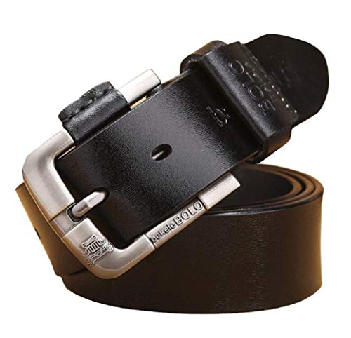 """Belts for Men, bekeleBOLO Handmade Genuine Leather Causal Belt with Classic Single Prong Buckle Designs (Round Black, waist size 39""""- 47""""(100-120cm))"""