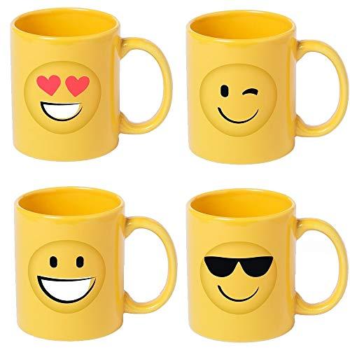 Lote de 8 Tazas en cerámica Diseño Emoticonos. Tazas Infantiles para un Desayuno Especial para los niños. Regalos Originales para cumpleaños, comuniones, bautizos