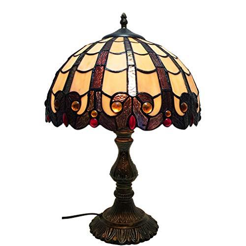 Tafellamp van gekleurd glas, 30,5 cm (12 inch), Tiffany-stijl, nachtlampje, groen voor woonkamer, slaapkamer, commode, salontafel naast de bibliotheek