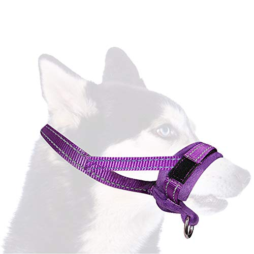 Nasjac Hund Schnauze, verstellbare Schleife, weiche Flanell Polsterung, komfortable Nylon atmungsaktive sichere schnelle Schnelle Passaufen verhindern, DASS beißen, für kleine mittlere große Hund