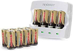 Tenergy 12 Pack CR123A Batteries and Charger, 3.7V 650mAh Arlo Batteries Compatible with Arlo VMC3030 VMK3200 VMS3130 3230C 3430 3530 Wireless Security Cameras