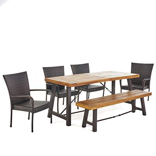 Christopher Knight Home Salla Outdoor Acacia Wood Dining Set with Wicker Stacking Chairs, 6-Pcs Set, Teak Finish / Rustic Metal / Multibrown