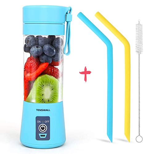 Portable Blender, Personal Size Blender USB Rechargeable with 6 Blades for Shakes and Smoothies, Mini Blender with 13oz Jucie Cup for Sports,Travel,Gym,home and office Blue