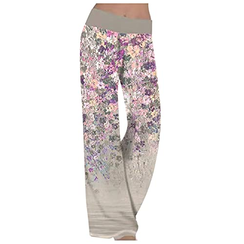 Briskorry Pantalones de tela para mujer, cintura alta, pantalones de verano, anchos, largos, perneras anchas, pantalones de tela, holgados, con estampado de flores. gris XXL