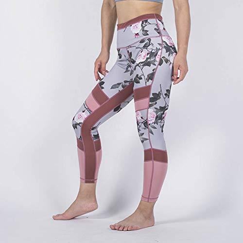 YUYOGAGAP Dames-gamaschen-bloemen-drukgamaschen-broek-dunne elastische mountainbike-vrouwelijk patchwork drukken jegings sport-damesbroek hoog
