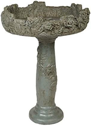 Solid Rock Stoneworks Large Floral Birdbath Piece- Tall- 32in 2 Be super welcome Sale SALE% OFF