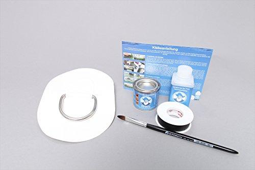 Set: D-ring + lijm kit, beslag om op te plakken voor opblaasbare boten (wit) DR-K9