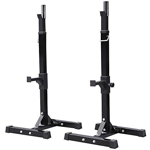 Yaheetech Repose Haltère Réglable 14 Niveaux Repose Barre Musculation Supports pour Haltères Longs à Disques Charge Max.200 kg Squat Rack Noir