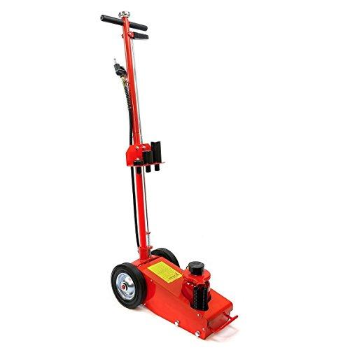 XtremepowerUS 55060 Heavy Duty 22 Ton Floor Hydraulic Air Axle Bottle Jack w/Extension Saddle Set Wheels, Red