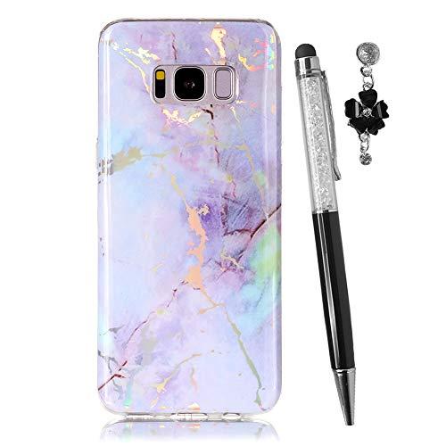 Hirkase Silikon Handy Hülle Kompatibel für Samsung Galaxy S8 Plus Hülle Crystal Clear Ultra Dünn Flexibel Silikon TPU Weiche Schutzhülle Slimcase Tasch + Stylus Pen + Staubstecker (Lila)