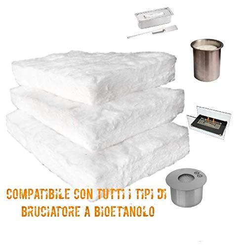 Spugna Camino Biocamino Bioetanolo | 3 Pezzi | Fibra Ceramica Caminetto |Aumenta La Durata E Sicurezza| 200X100X13|Adatta A Tutti Bruciatori Per Bioetanolo