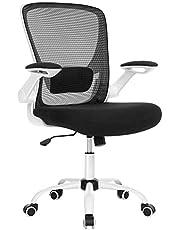 SONGMICS bureaustoel met opklapbare armleuningen, bureaustoel met gaas, ergonomische computerstoel, 360°-draaistoel, verstelbare lendensteun, ruimtebesparend