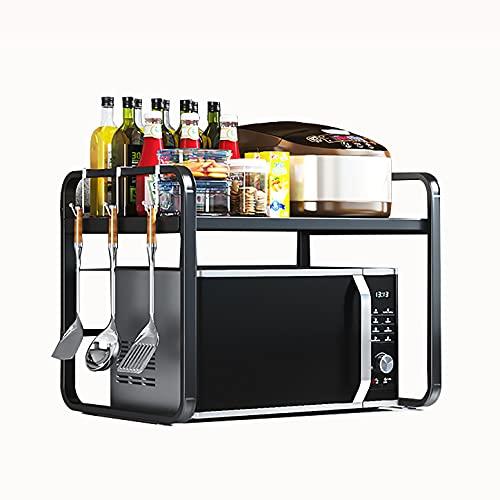 zkc Scaffale da Cucina Supporto per Microonde, Supporto Estensibile in Metallo, Mensola Armadio da Cucina, Organizzatore Porta Microonde con 2 Ripiani Mensola Inox