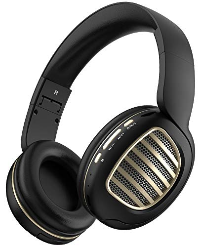 Aduro Rechargeable Bluetooth Wireless Headphones with Microphone Foldable Over The Ear Headphones with Mic Keynote Wireless Headset - Black/Gold