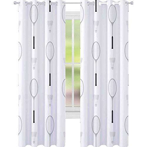 YUAZHOQI Cortinas opacas para oscurecimiento de habitación con raqueta de bádminton y volante, diseño sin costuras para sala de estar, dormitorio, ventana, cortinas de 132 x 182 cm