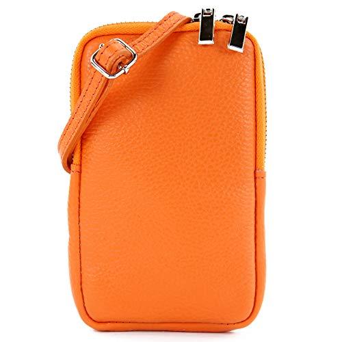 modamoda de - T197 - ital. Leder Umhänge-/Handytasche Klein, Farbe:Orange